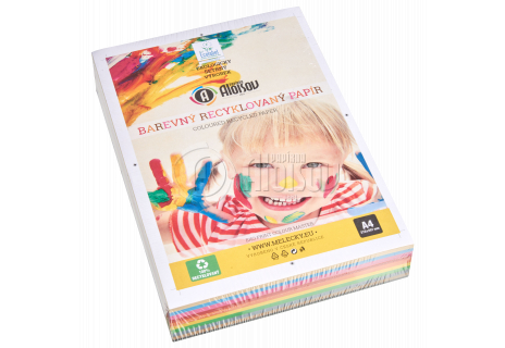 Barevný recyklovaný papír duha 10 barev A4/80g/500 listů