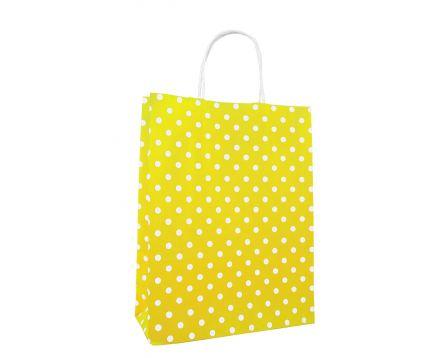 Papírová taška žlutá s puntíkem 240x310x100mm