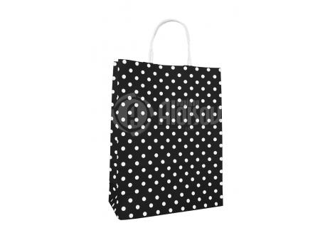 Papírová taška černá s puntíkem 240x310x100mm