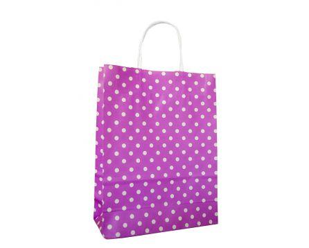 Papírová taška růžová s puntíkem 240x310x100mm
